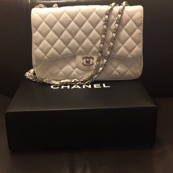 CHANEL Bags   Rare Authentic Jumbo White Single Flap Bag   Poshmark 5462b74a92